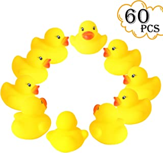 Digabi Set of 60 1.4' Mini Yellow Ducks Rubber Bath Toy Pure Natural Cute PVC Rubber Ducky for Baby Kinder Toys(60pcs)
