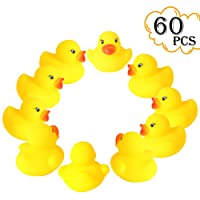 """rainbow yuango Set of 60 1.4"""" Mini Yellow Ducks Rubber Bath Toy Pure Natural Cute Rubber Ducky for Baby Kinder Toys"""