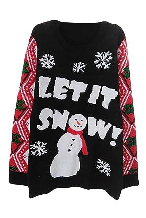 sovoyant womens decorating snowmen long sleeve knitting ugly christmas sweater black snowmen small - Cute Ugly Christmas Sweater