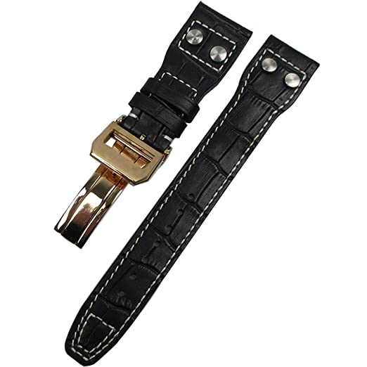 Constructs Banda De Reloj para Correa Iwc Reloj Hombre Accesorio Mark Calf Big Correa Piloto Rivet Pulsera Correa Correas,Black Rose Gold,22Mm No Clasp: ...