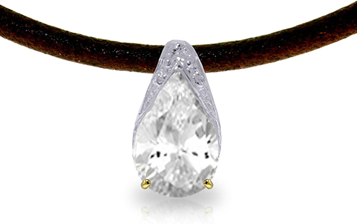 ALARRI 6 Carat 14K Solid Gold Leather Necklace White Topaz with 20 Inch Chain Length