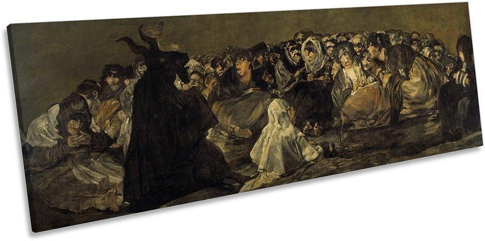 Lienzo con impresión panorámica de Lienzo con Marco de Cuadros de Francisco Goya Witches Sabbath Canvas Art, 180cm Wide x 60cm High