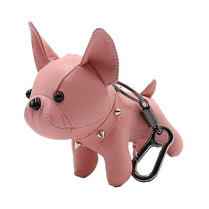 Llavero de perro bulldog francés lindo llavero de piel para ...