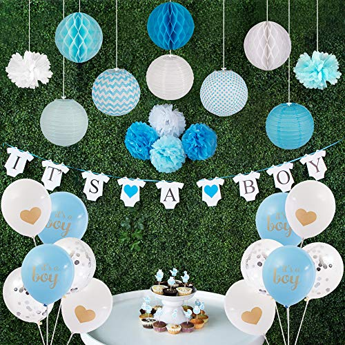 Baby Shower Decorations for Boy I Full Kit Backdrop I 45pcs Set I It's a Boy Banner with Bonus 18 Cupcake Toppers I Balloons, Paper Lanterns, Honeycomb Balls and Paper ()