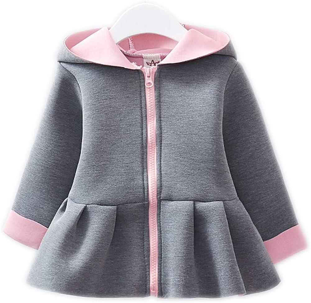 Sitmptol Baby Girl's Toddler Kids Fall Winter A-line Dress Coat Jacket Outerwear Cute Ears Hoodie