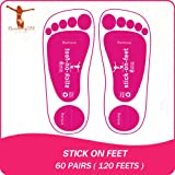 Economy 60Pairs(120feets) Pink Spray Tan Stick on Feet Tanning Pads Protectors