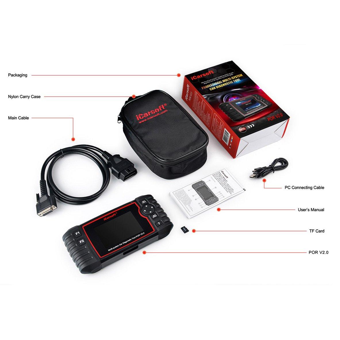 iCarsoft Esc/áner de diagn/óstico autom/ático por V2.0 para Porsche con airbag Scan reinicio de Servicio de Aceite