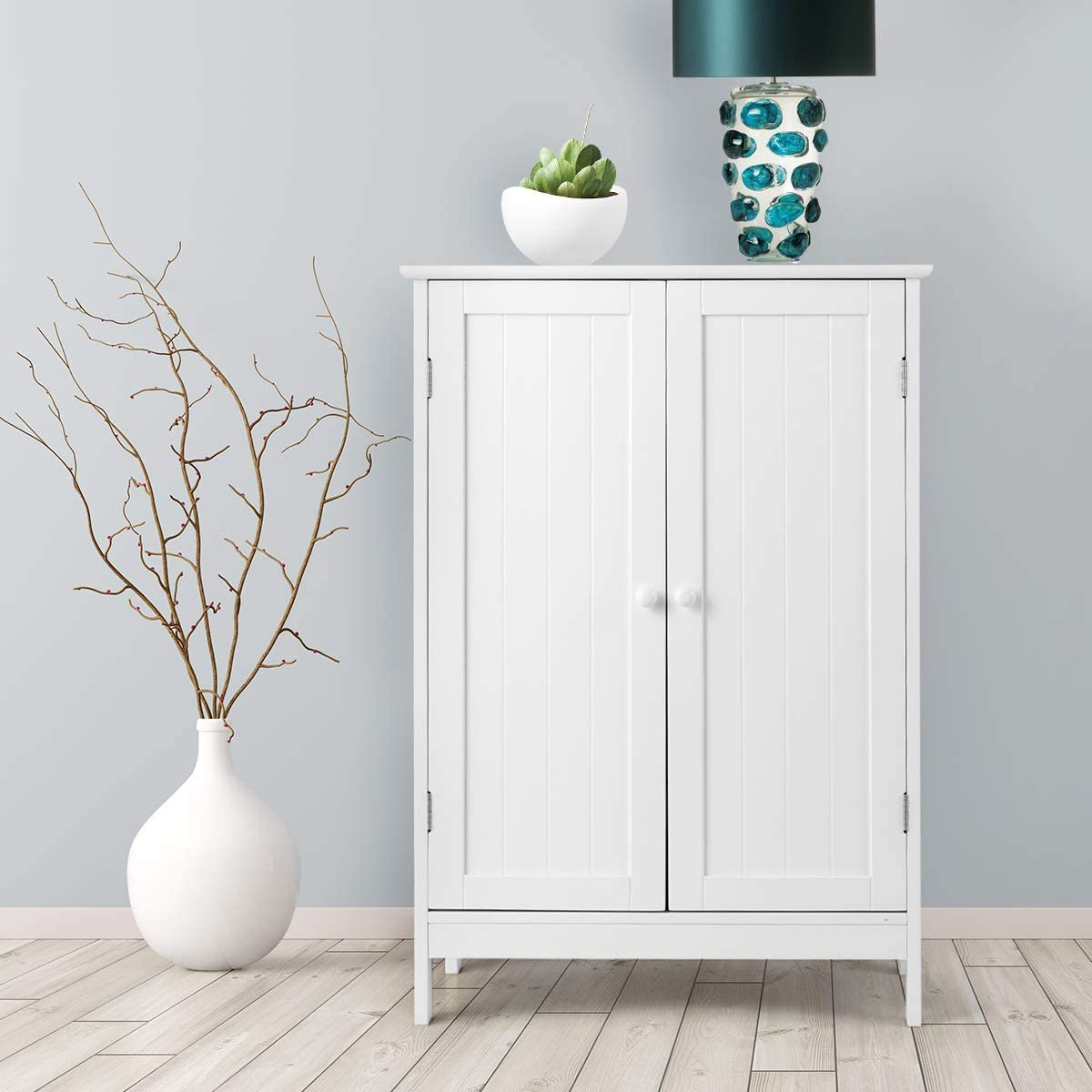 Tangkula Bathroom Floor Cabinet, Wooden Floor Storage Cabinet, Living Room Modern Home Furniture Free Standing Storage Cabinet, 23.5x14x34 inches White