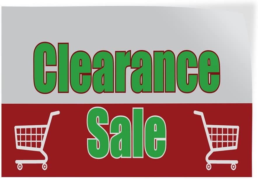 Decal Sticker Multiple Sizes Clearance Sale #1 Style F Business Grocery Cart Outdoor Store Sign Red 30inx20in Set of 5