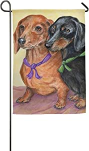 Glad Grace Sausage Dog Dachshund Decor Seasonal House Garden Flags All-Weather Polyester 12.5 x 18 inch Prime Decorative