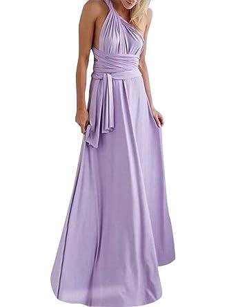 b9c6e5237e86e One Shoulder Dress, Women Elegant Evening Prom Party Wedding Dress High  Waist Convertible Multiway Wrap