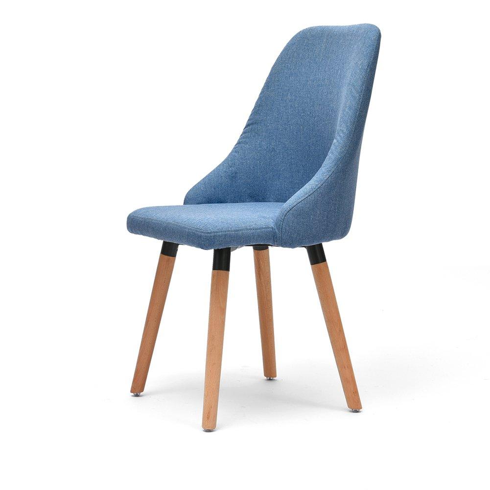 背もたれの椅子家庭大人のリビングルームシンプルなスツールレストランソリッドウッドのダイニングチェア (色 : Blue, サイズ さいず : Set of 1) B075WR9FX9 Set of 1|Blue Blue Set of 1