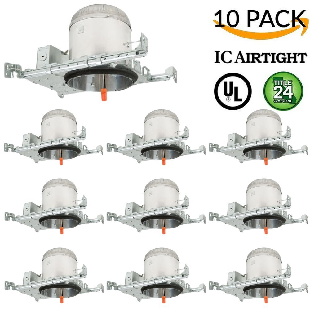 6'' New Construction LED Can Air Tight IC Housing LED Recessed Lighting, TP24 (10 Pack)