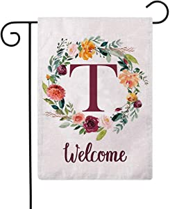 ULOVE LOVE YOURSELF Letter T Garden Flag with Flowers Wreath Double Sided Print Welcome Garden Flags Outdoor House Yard Flags 12.5 x 18 Inch(T)