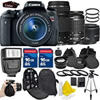 Canon EOS Rebel T6s 24.2MP EF-S 18-55mm IS STM Digital SLR +Canon EF 75-300mm f/4-5.6 III +Canon EF 50mm f/1.8 II +2pc 16GB High Speed Memory Cards +UV Filter +Deluxe Case - International Version Benefits Review Image