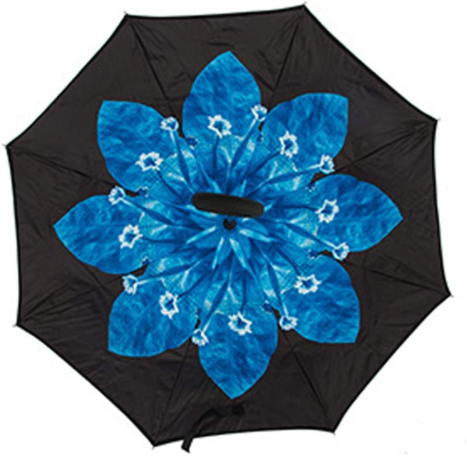 Reverse Umbrella Upside Down Umbrella with C-Shaped Handle Blue agaric flower Hflove Umbrella Windproof Umbrellas for Women with UV Protection Inverted Umbrella