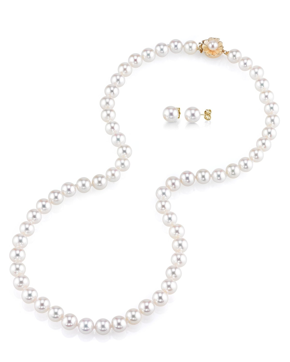 THE PEARL SOURCE AAA Quality 8-9mm Round White Freshwater Cultured Pearl Necklace & Earrings Set with 14K Yellow Gold Flower Clasp for Women