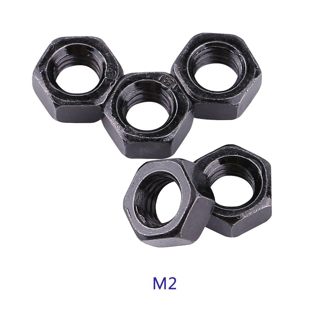 100pcs Din934 M2-M5 Noir Acier Au Carbone Plaqué Filetage Métrique Hexagonal(M2) Zerone
