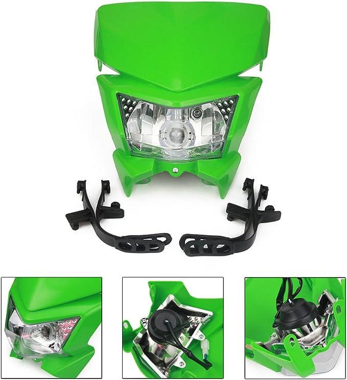 Anxin Universal Motorrad Scheinwerfer Scheinwerfer Scheinwerfer Mit Led Drehlicht Für Kawasaki Klx250 Klx110 Kx65 Kx85 Kx500 Dirt Pit Bike Motocross Grün Auto
