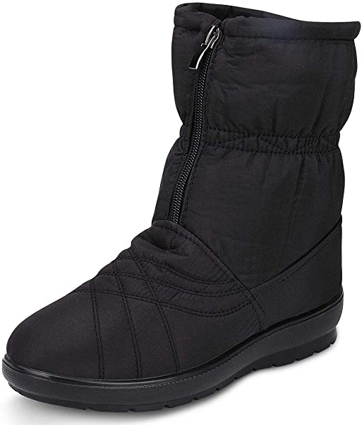 labato Women s Waterproof Wide Calf Winter Warm Ankle Snow Boots with Zipper 87a2cab39be0