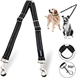 SMARTUS Dual Reflective Dog Leash Tangle Free - Heavy Duty Double Handle Dog Walking Training Leash for (2) Two Large, Medium, Small Dog Сoupler