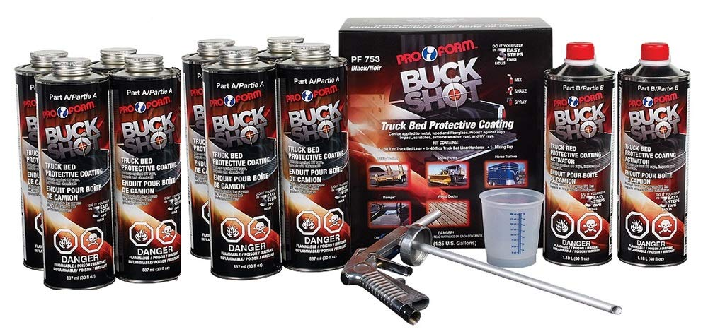 Pro Form Buck Shot Truck Bed Liner Black Kit with Spray Gun - 2.5 US GALLONS, 9.4 Liter