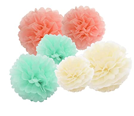 12pcs Mint Cream Peach Hanging Tissue Paper Pom Poms 10inch 8inch
