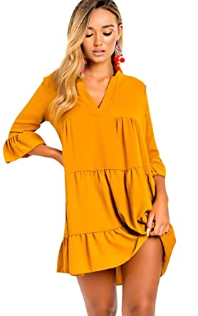 1e995cdef4 Ikrush Womens Tayla Flare Smock Dress Mustard  Amazon.co.uk  Clothing