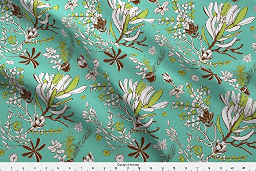 Spoonflower Jungle Terrain Fabric Teal Cradle Flora by Bermudezbahama Printed on Modern Jersey Fabric by the Yard