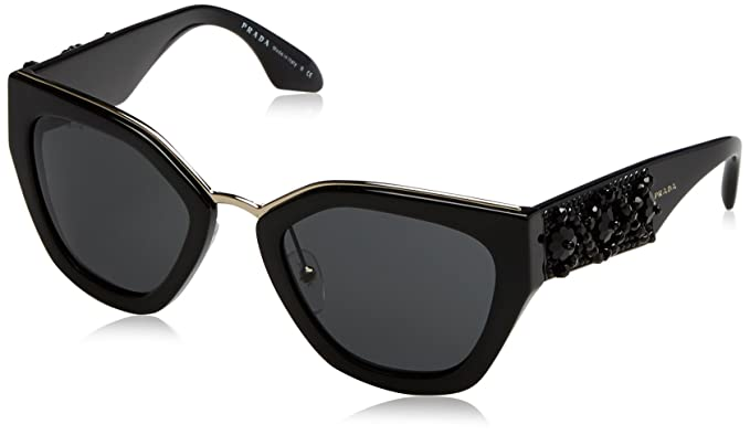4bff09f969fc Image Unavailable. Image not available for. Color  Prada PR10TS 1AB5S0 Black  PR10TS Square Sunglasses ...
