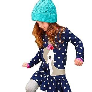 HANYI Toddler Baby Girls Kids Autumn Long Sleeve Dress (6T, Dark Blue)