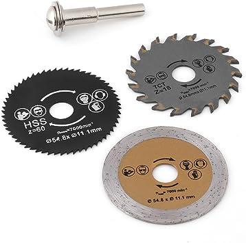 Hojas de sierra circular 3pcs 54.8mm HSS Mini Madera Hoja de sierra circular Cuchilla de corte Herramienta rotativa y mandril