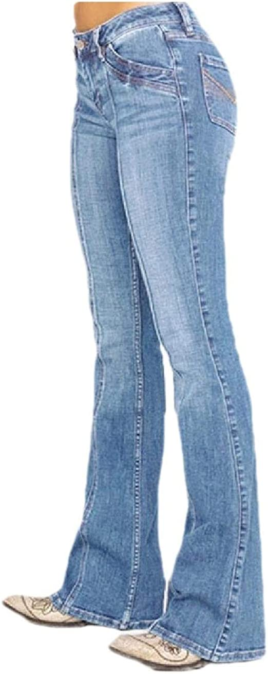 EnergyWD Women's Mid Waist Casual Slim Fitting Flare Washed Jeans with Pockets