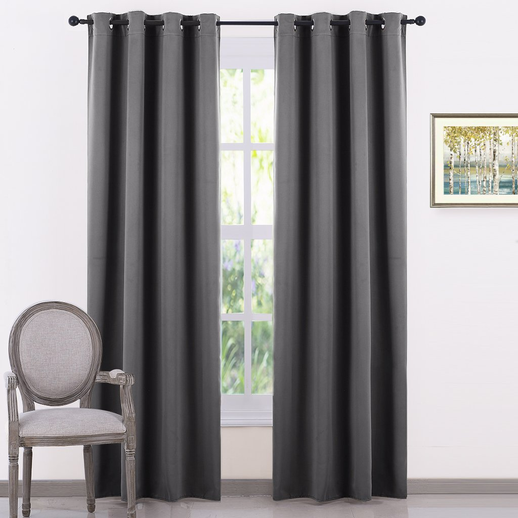 PONY DANCE Grey Blackout Curtains - Window Bedroom Curtain Panels Home Decor Thermal Insulated Drapes Light Block Covering Noise Reducing for Living Room, 52 by 84 Inches, Gray, Set of 2 by PONY DANCE