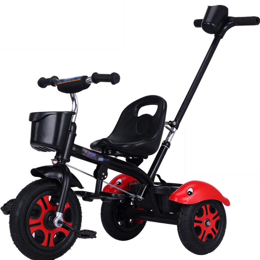 Li jing home Kinderfahrräder stilvolle Babyfahrräder dreirädrige Fahrräder für Jungen und Mädchen 1-3-5-2-6 Jahre alte Kinderwagen Picknick-Kinderwagen im Freien tragbare Gürtel schwarz