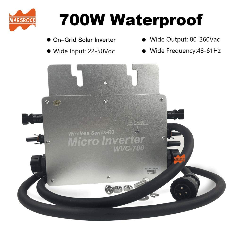 Marsrock IP65 High Efficiency MPPT Micro Solar Inverter 700W for 22-50VDC Wide Input Voltage to 120V/230VAC Auto Switch Suitable for Solar Power System by Marsrock
