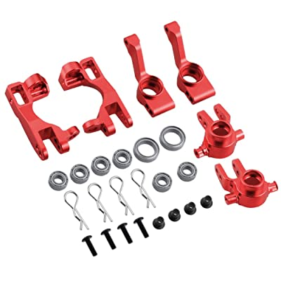 Hobbypark for 1/10 Traxxas Slash 4x4 Upgrade Parts Aluminum Left & Right Steering Blocks Caster Stub Axle Carriers with Ball Bearings Replace 6837X 6832X 1952X Option: Toys & Games