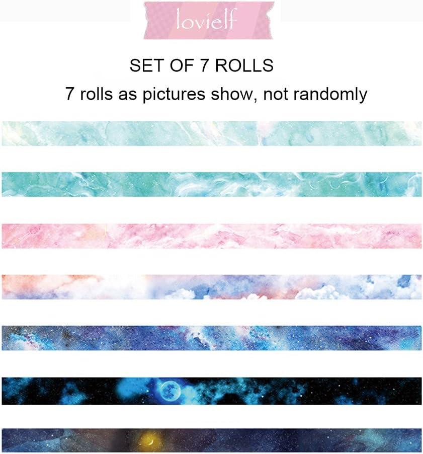 Washi Tape Set of 7 Rolls Width: 15mm Natural Galaxy Water Color Aurora Decorative DIY Japanese Masking Adhesive Sticky Paper Washi Tape Set