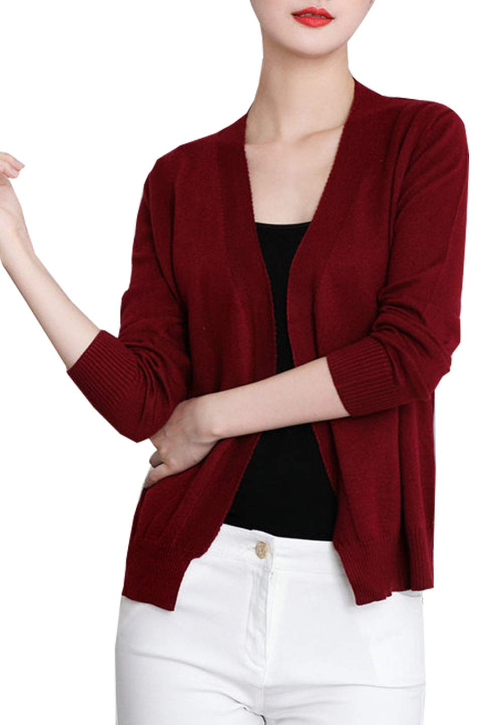 Womens Front Open Cropped Long Sleeve Soft Cashmere Crochet Sweater Tops Cardigan Red US 8
