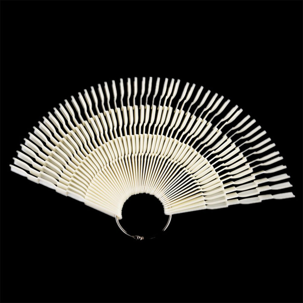 Daycount® Bamboo style Color Swatches 150 Color Fan Shape Nail Art Display Shelf Polish Card Transparent False Nail Art Tips Sticks (Clear) DC0876