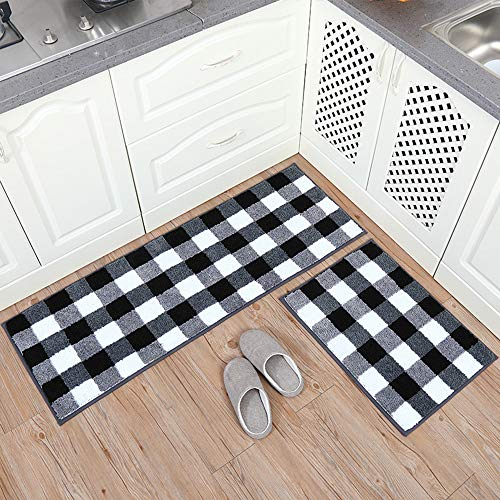 Carvapet 2 Pieces Buffalo Plaid Check Rug Set Water Absorb Microfiber Non-Slip Kitchen Rug Bathroom Mat Checkered Doormat Carpet for Laundry