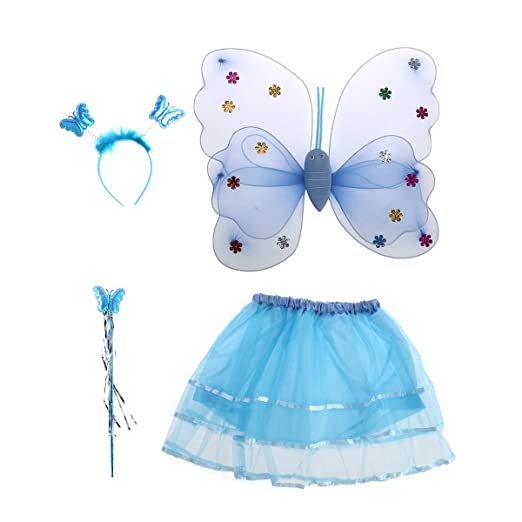 Princess Fairy Costume Butterfly Costumes Outfit With WingsTutuWand And Headband For Girls