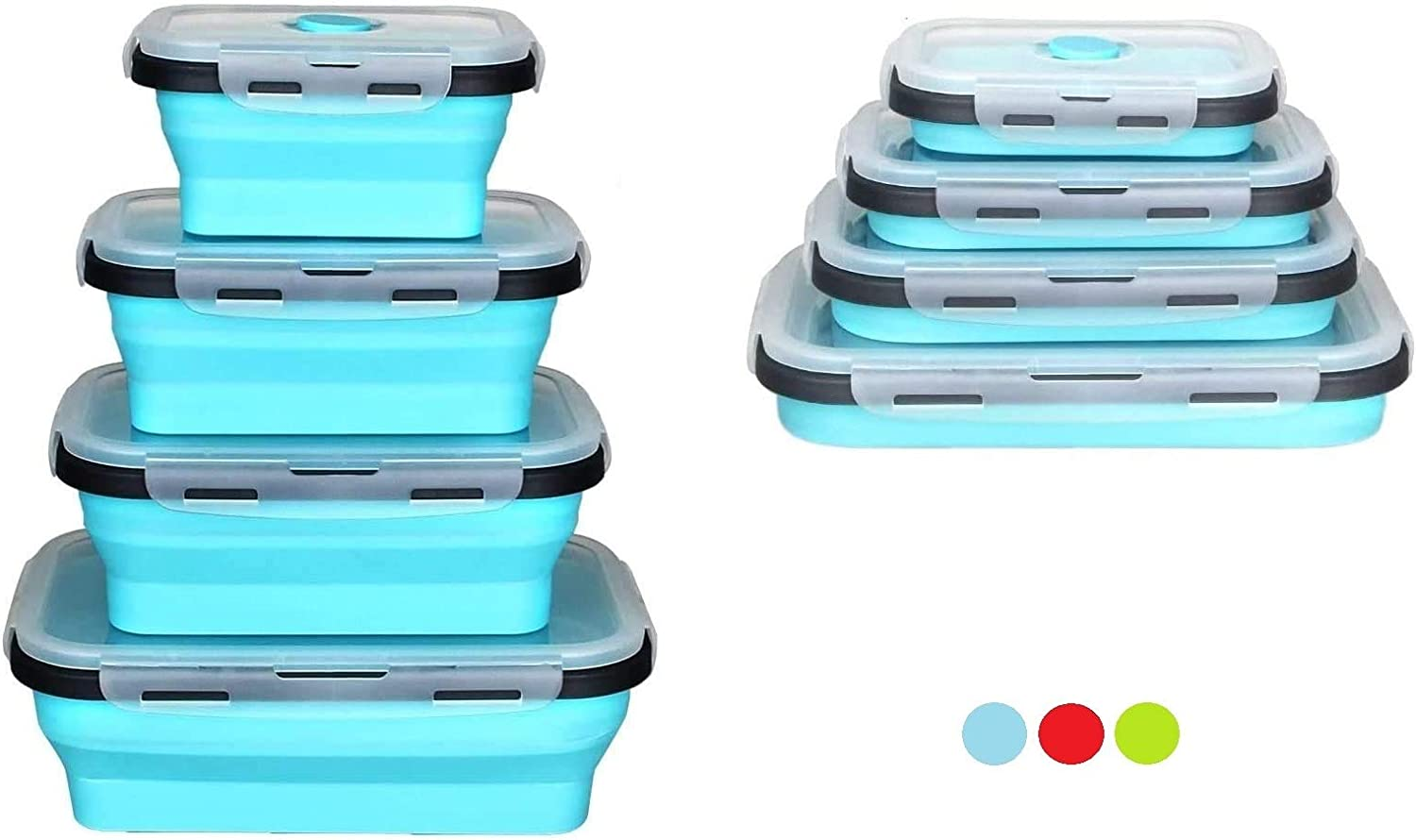 Set of 4 Collapsible Foldable Silicone Food Storage Container With BPA Free, Leftover Meal Box With Airtight Plastic Lids For Kitchen (Blue)