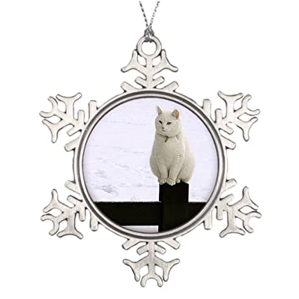 moc moc large christmas tree decorations fat white cat on a black fence cool christmas snowflake