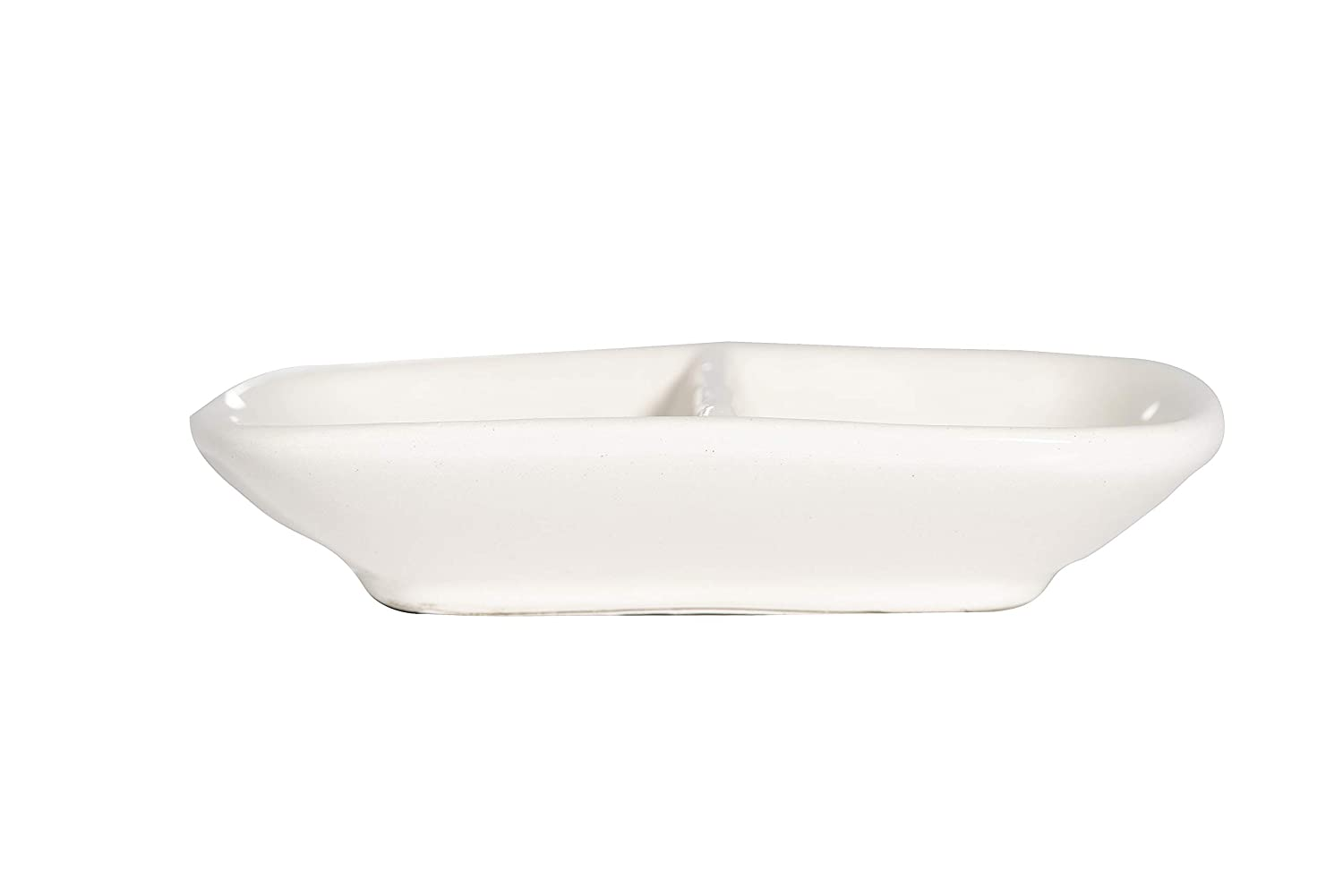 White Creative Co-op Ceramic His /& Hers Divided Ring Dish