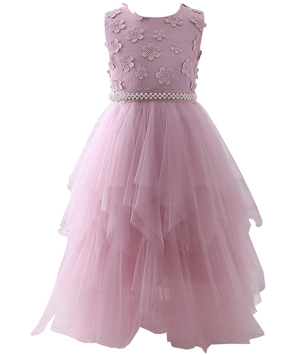 e9032ea23e63 AbaoSisters Flower Girl Dress Lace Crochet Bow Sash Party Wear 6-13 Year Old  2-3 Years Pink: Amazon.ca: Clothing & Accessories