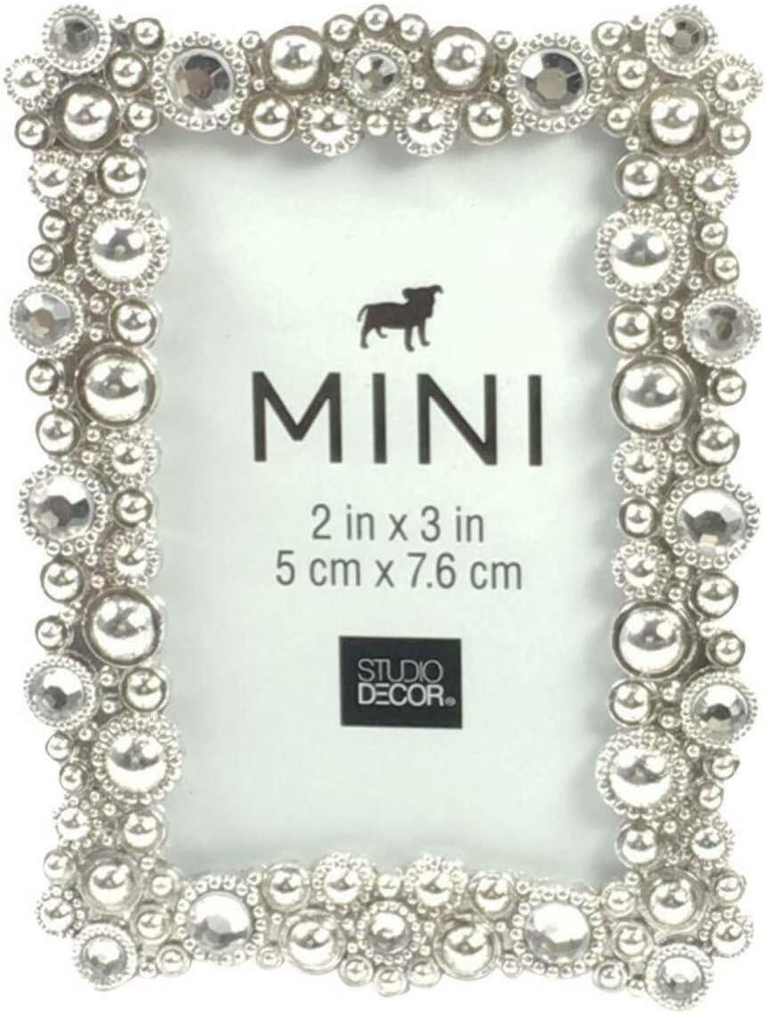 Studio Decor Bejeweled Silver Tone Metal Mini Picture Frame 2 X 3