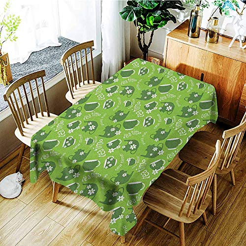 XXANS Tablecloth,Tea Party,Tea Time Theme with Teapots and Cups Blooming Daisy Chamomiles,Fashions Rectangular,W60x84L Dark Green Lime Green White ()