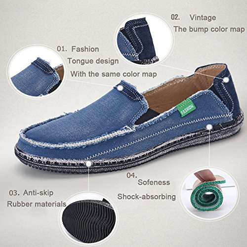 For Canvas Slip Weeding Shoes Loafers On Flat Mens Outdoor Walking Blue Driving Boat SANBANG wPWCqXx86W