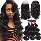 Wigirl Hair 8A Grade 360 Lace Frontal Closure With Bundles Brazilian Body Wave Virgin Hair Bundles With 360 Lace Frontal Unprocessed Human Hair With Frontal (20 22 24 With 18)